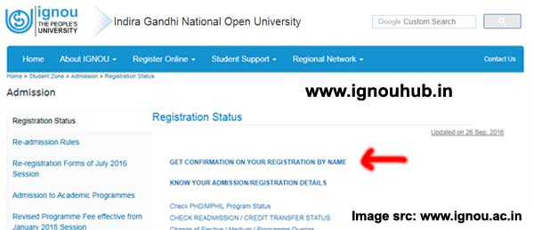 check Ignou Enrollment number by entering name