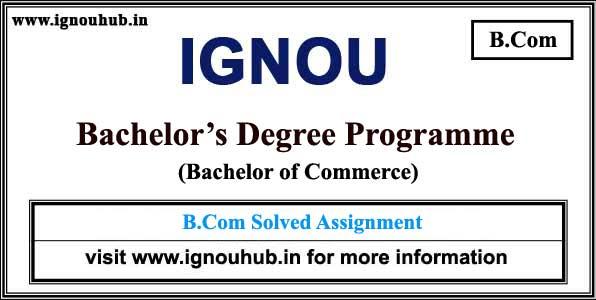 Ignou B.Com Solved Assignments (ECO)