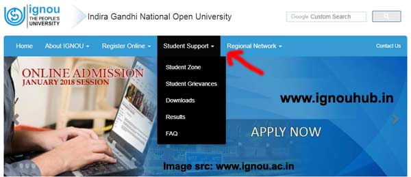 IGNOU Student Support Section