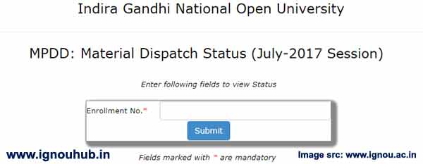 Ignou books dispatch status July 2017