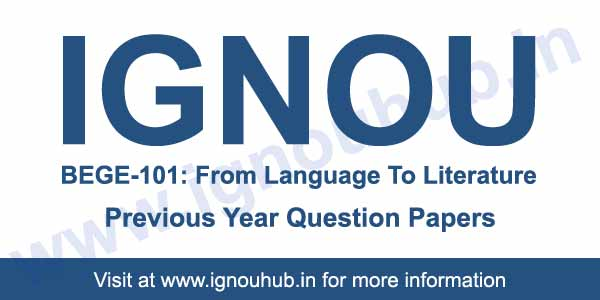 BEGE 101 question paper Ignou