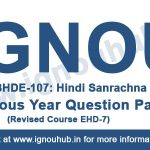 ignou BHDE 107 question paper